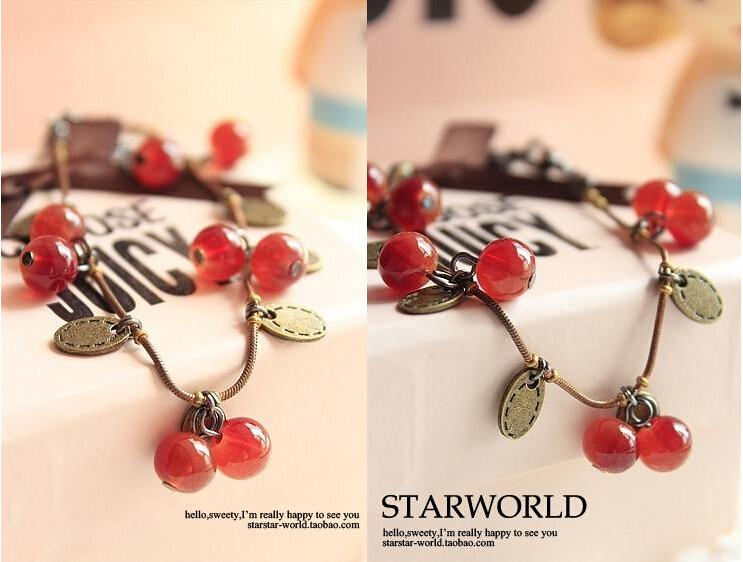 New style restoring ancient ways tassel small sweet cherry bracelet gift only beautiful Imitation crystal bracelet
