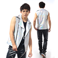 2016 Fashion Male Cool Silver Laser PU Leather Vest costumes Male singer dj nightclub outwear Party Show stage performance wear