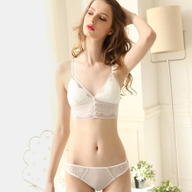 Totrust Sexy Set Bra And Panty Women 2019 Fashion Teenage Sexy Girl Underwear Transparent Lace Bra