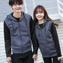 2017 streetwear Cardigan Lovers Loose Coat Solid Color Tide Male Vest mens hoodies men black sleeveless hoodie sweatshirt