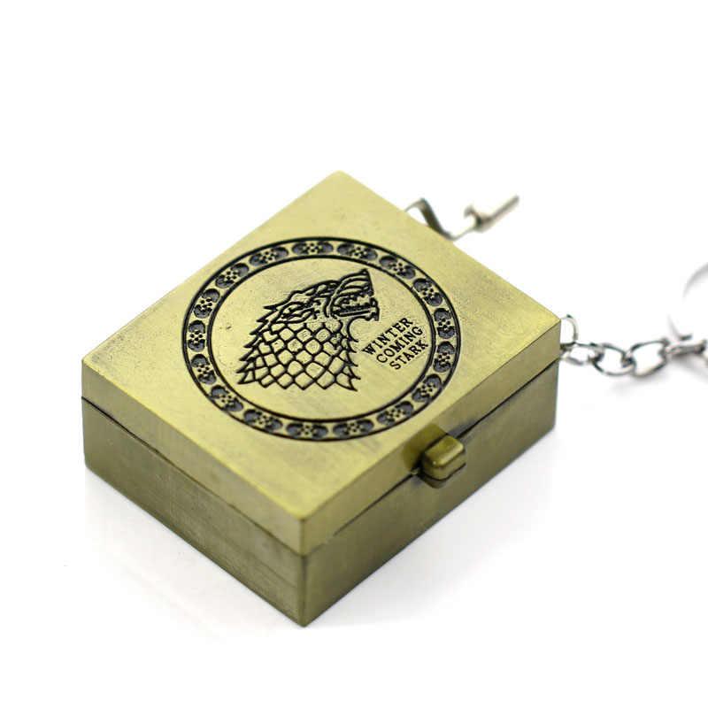 Game of Thrones E Hogwarts DIY Caixa de Música Chaveiro Mulheres Conjunto Manivela Movimentos 18 Tons Bela Melodia Brinquedos Presente