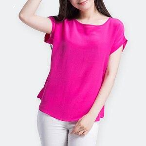 Image 5 - Женская футболка из натурального шелка, однотонная Свободная шифоновая футболка с коротким рукавом летучая мышь, базовый топ из 100% натурального шелка, лето 2019