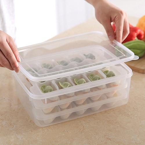 Transparent square three layer refrigerator dumpling fresh-keeping box storage box 29*22*10cm Free shipping