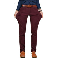 2018 Brand New Mens Casual Pant High Stretch Elastic Fabric Skinny Slim Cutting Trouser Pocket Badge Plus Size 44 46 wine red