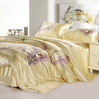 100 Mulberry Silk Freehand Sketching AB Seamless Bedding 19 Mm 4 Pieces Set King Queen Size