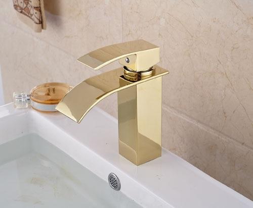 NEW Gold Brass Waterfall Spout  Batrhroom Sink Basin Faucet  Mixer Tap  Deck Mounted