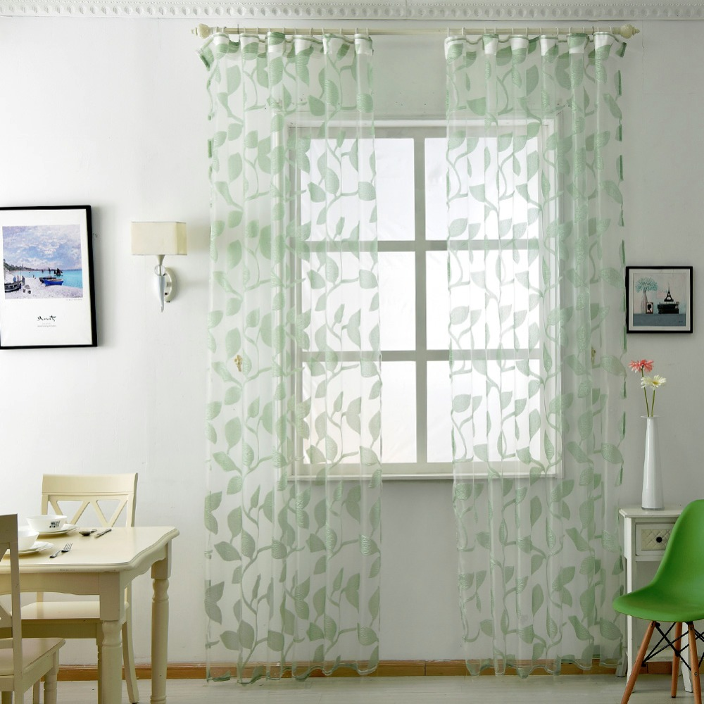 Panel leaf white sheer design curtain curtains modern transparent ...