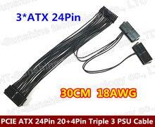 1PCS–PCI-E expreso ATX de $ number Pines (de $ number pines + $ number Pines) 20 + 4Pin Triple 3 FUENTE de ALIMENTACIÓN cable de Alimentación Cable de Alambre 18AWG 30 cm Para BTC Minero Máquina
