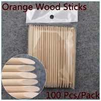 WUF 100PCS Nail Art Design Orange Wood Stick Cuticle Pusher Remover Manicure Care