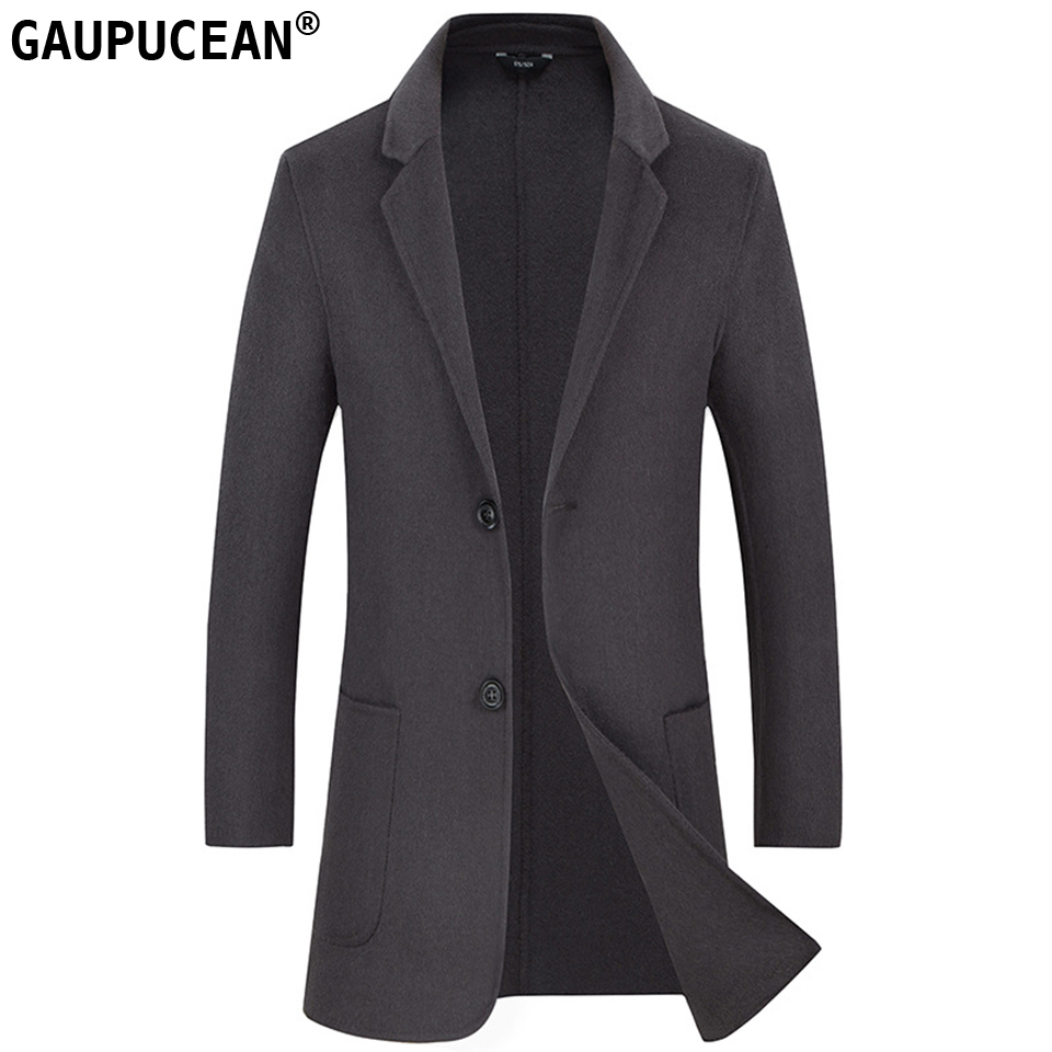 Man Wool Long Coats Quality Two Buttons Male Suit Jacket Grey Crease Resistant Warm Pockets Men Double-faced Woolen Overcoat