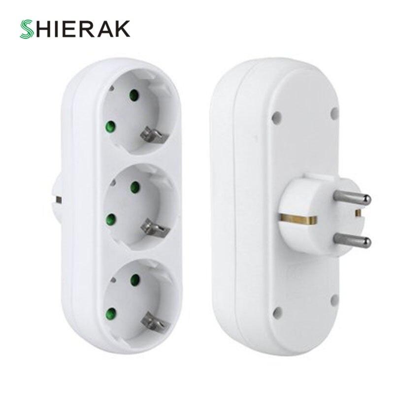 SHIERAK L'UE Standard Trois-pôle Plug Power Socket 16A 250 v Sortie Triple Allemand Standard Adaptateur MAX Puissance 3500 w Utilisé Pour La Maison