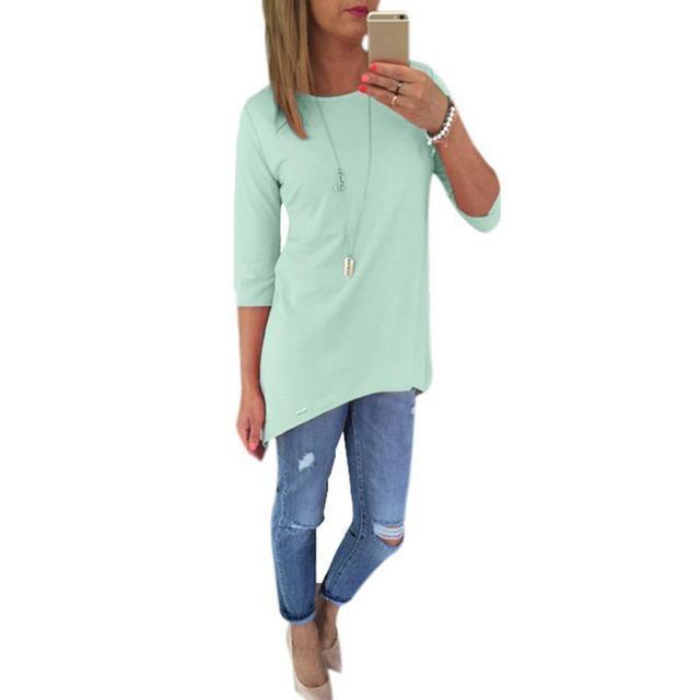 17cbaeb85ea Women Blouse 3 4 Sleeve Long Tops O Neck Blouse Shirt Irregular Hem O Neck