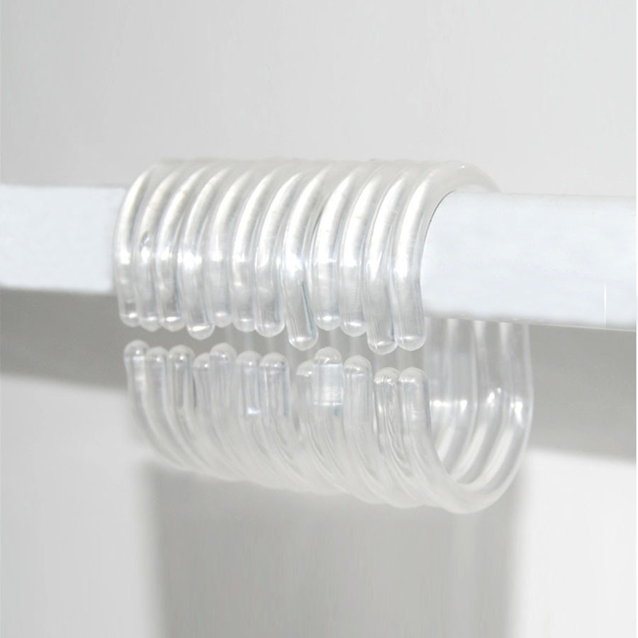 12PCS/Pack Shower Curtain Rings Clear Set Of Silicone