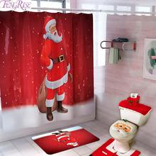 Merry Christmas Bathroom Curtain Santa Claus Toilet Seat Decorations For Home Navidad 2019 Xmas Gifts New Years 2020