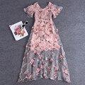 Vestidos de pista 2016 lindo rosa sheer malha bordado flores sólidos longos vestidos bohemian estilo da marca vestidos de festa 61460