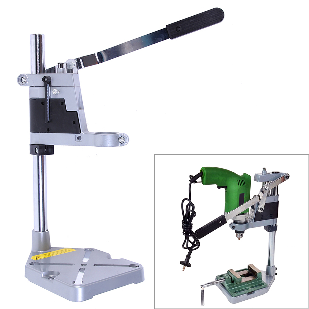 Double-Head Electric Drill Holding Holder Bracket Grinder Rack Stand Clamp Aluminium Alloy Woodworking Bracket 16.14x7.87x5.7in