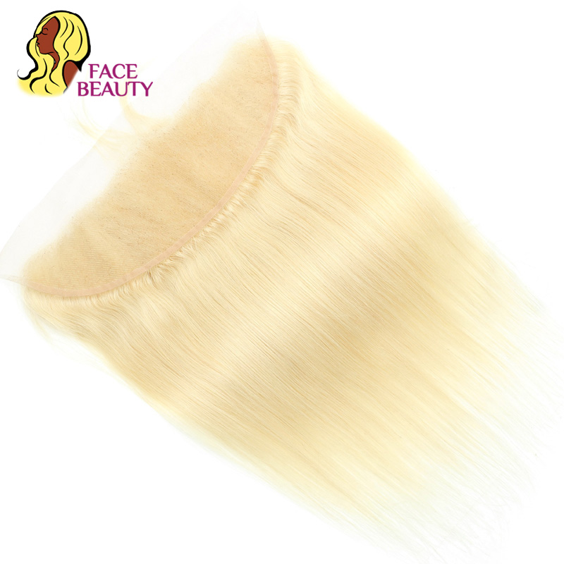 Facebeauty Hair Straight Brazilian Remy Human Hair Pure 613 Color 13x4 Ear to Ear Lace Frontal Closure Swiss Lace Bleached Knots-in Closures from Hair Extensions & Wigs    2