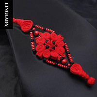 LINGLADY Red Chinese knot Bracelet Black Bead Inlay Wave Rope bracelets for Women High Quality Ancient China style Jewelry BR006