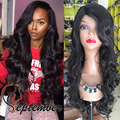 Cheap synthetic lace front wigs body wave side part glueless synthetic lace front wig for black women stock wig