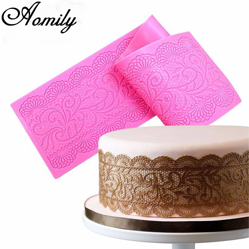 Aomily Lace Flower Wedding Cake Silicone Beautiful Flower Lace Fondant Mold Mousse Sugar craft Icing Mat Pad Pastry Baking Tool