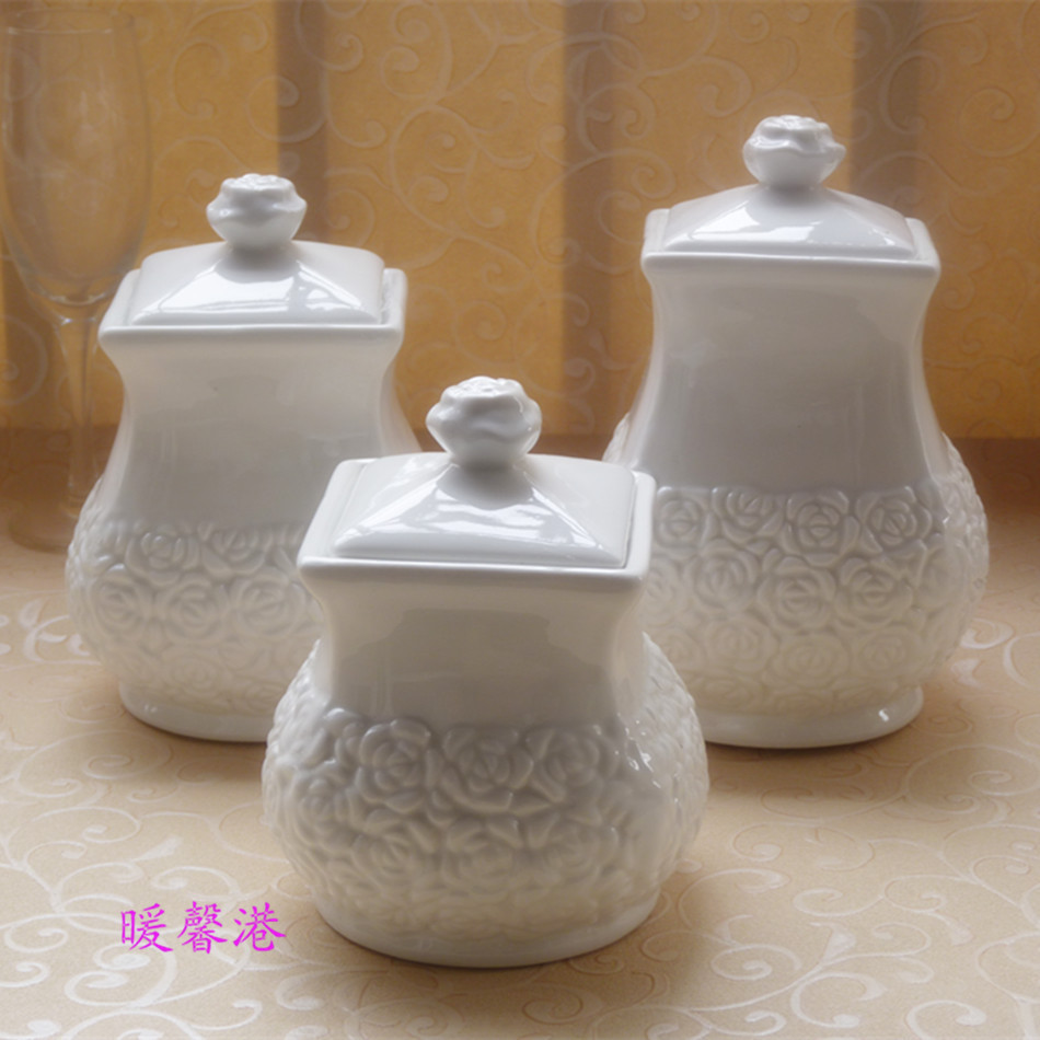 3Pcs Porcelain Enamel Kitchen Canister Set Coffee Sugar Tea White 3pcs  Ceramic Sweet Storage Jars Set In Storage Bottles U0026 Jars From Home U0026 Garden  On ...