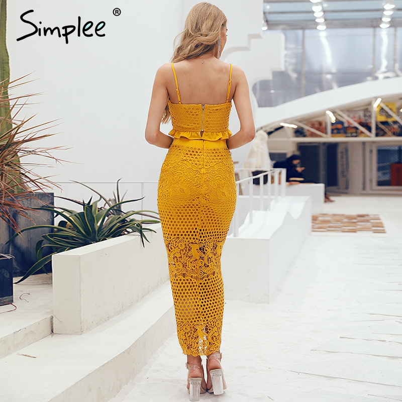 Image 3 - Simplee Hollow out bodycon midi women summer dress Embroidery two  piece co ord button female sundress Elegant holiday vestidosDresses