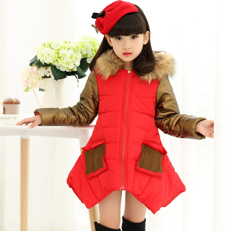 Thicken Fur Hooded Children Snow Outerwear Down Parkas Kids Winter Warm Solid Coats Boy Girl Jacket Baby Clothing 2015 hot new thicken warm woman down jacket coat parkas outerwear raccoon fur collar luxury slim long plus size xl hooded splice