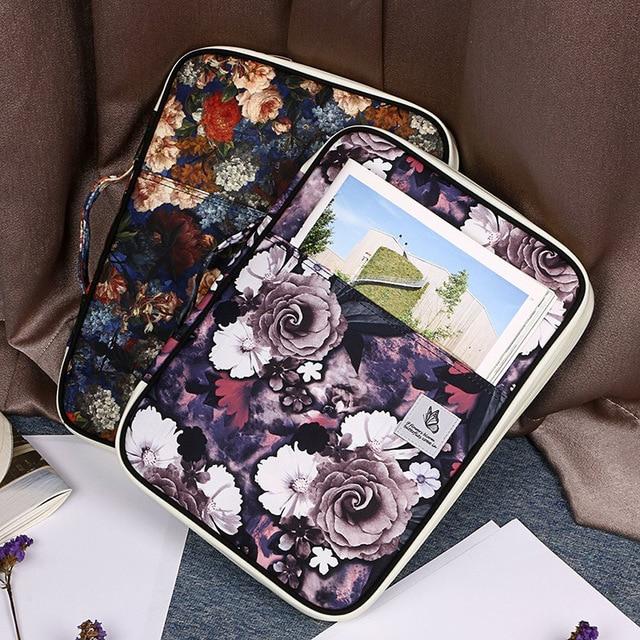 Large Capacity Hibiscus Flower Print Multifunctional A4 Documents Storage Bag Ziper Waterproof Briefcase Hand Bag For Ipad WJD21