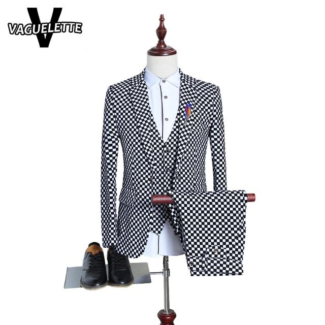 Blazer+Pants) Funny Mens Fashion Suits Black&White Check Plaid ...