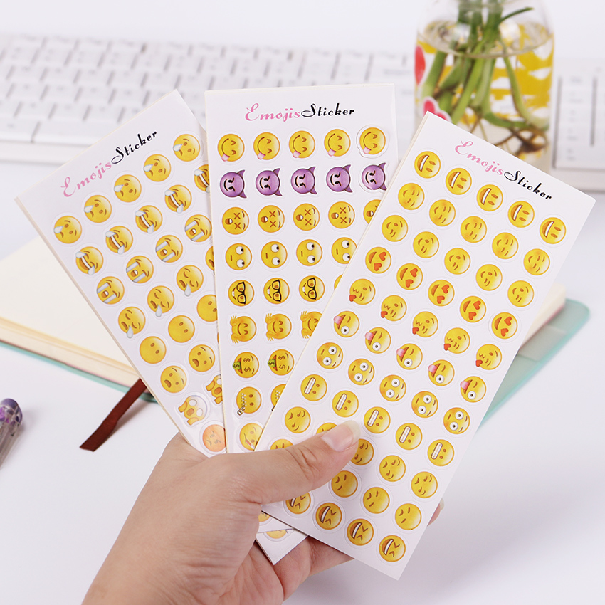 12 Sheets(660pcs) Cute Mini Emoji Smile Face Stickers 55 Die Cut Sticker Notebook Fun Message Funny Creative Stationery Sticker one sheet 48 stickers hot popular sticker 48 emoji smile face stickers for notebook message twitter toy large viny instagram