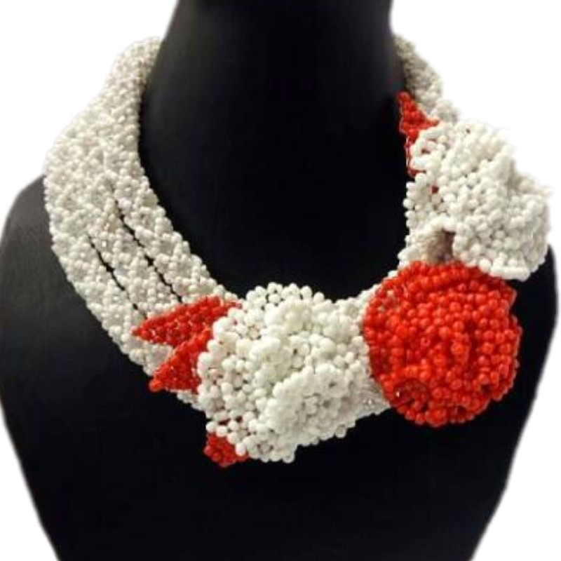 Chunky Red Blue Flower African Jewelry Sets White Crystal Bridal Jewellery Sets For Women Dubai Necklace Set For Brides 2018 New new purple jewelry bridal sets 3 layers bridal jewelry sets gold color big african costume jewellery set for brides women 2018