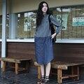 Women Blouses Denim Color Patchwork Cotton Linen Women Long Blouses Turn Down Collar Long Sleeve Casual Vintage Women Shirts