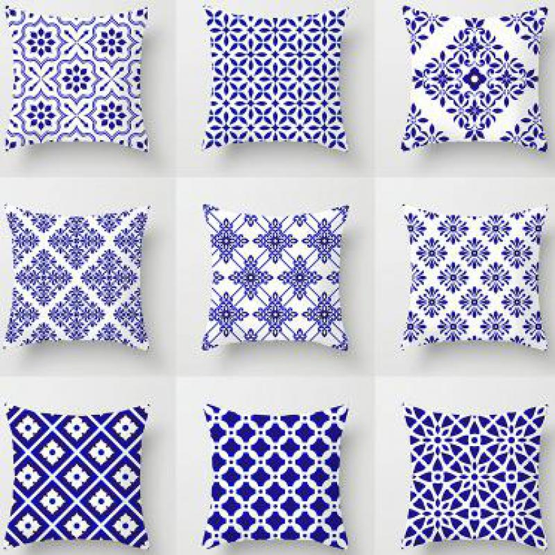 Blue Cushion Navy Cushions Geometric Velvet Throw Decor Pillow Bright Navy Blue For Sofa Seat Chair Decorative 45x45 Cm Plush