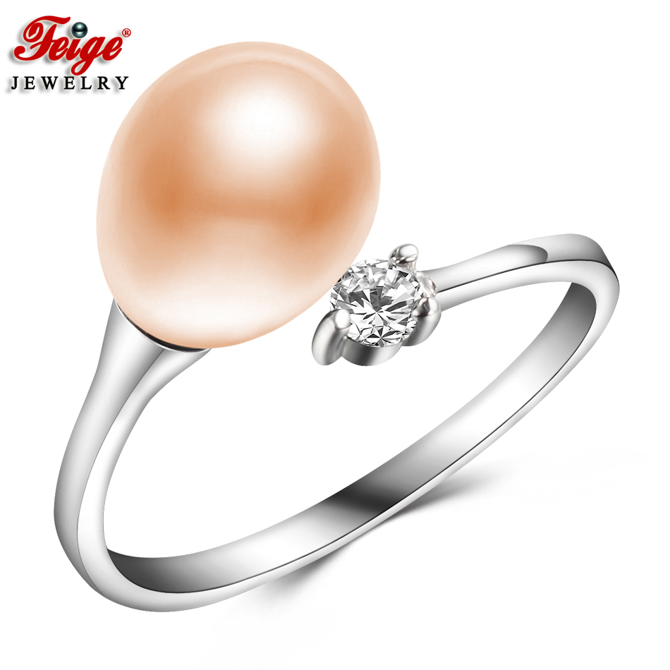 Feige Traditional Fashion Pure Pink Pearl Ring For Girls's 8-9Mm Tradition Freshwater Pearl Rings Effective Jewellery Dropshipping