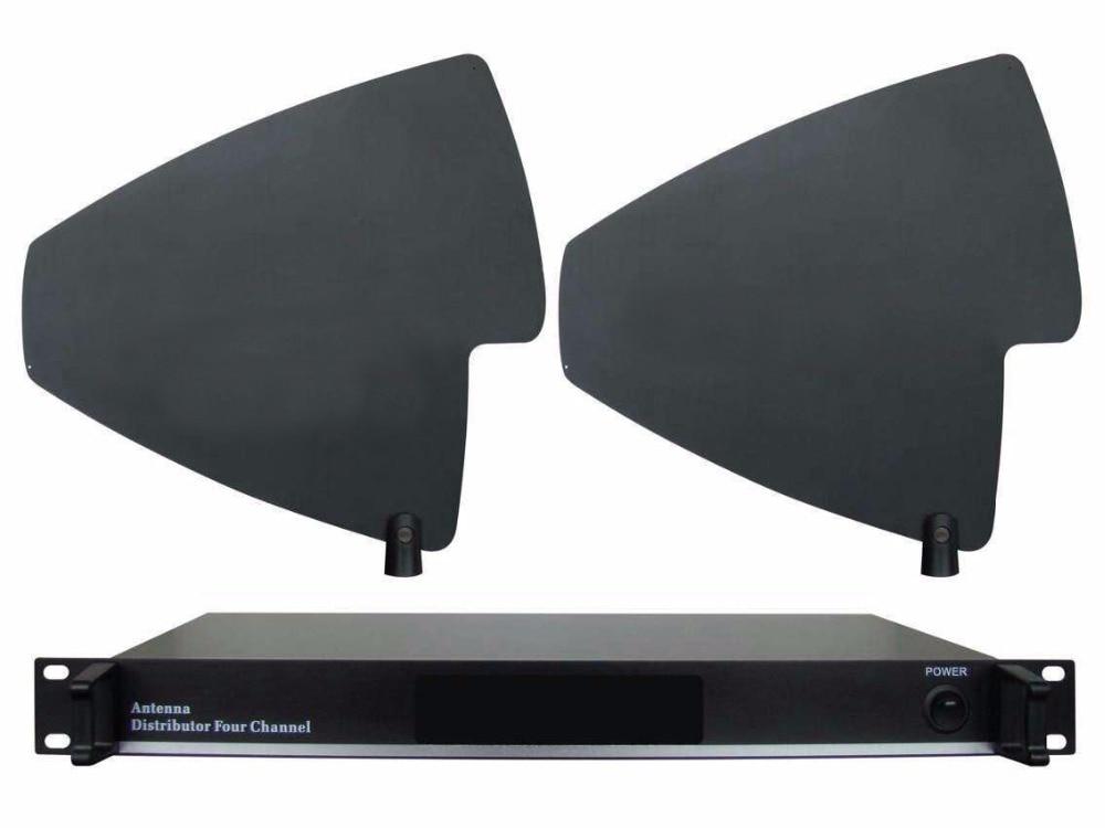 цены UHF 500-950MHz Antenna Distributor Amplifier FOR Wireless Microphone System 4 Channels 400M Microhone Splitter antenna distruibe
