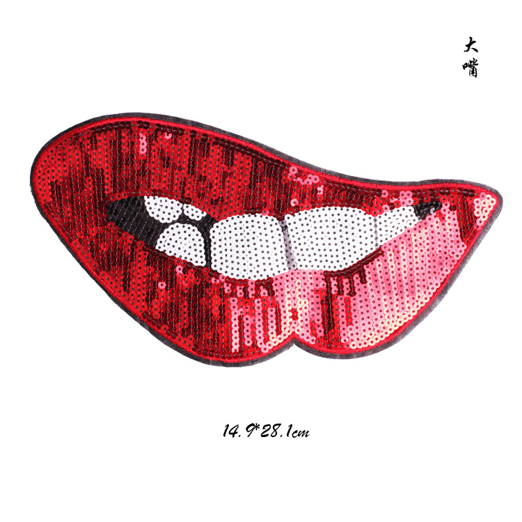 1pc red mouth lips sequins beaded patches for clothing DIY rhinestone Sew on Embroidery applique parche dress hats bags