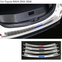 car styling Rear back Bumper Trunk Threshold Door Sill protect Outer Protector Cover Trim 1pcs For toyota RAV4 2016 2017 2018