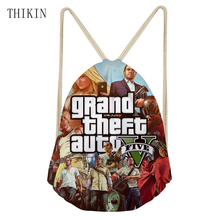 THIKIN Custom Swim Bag Men Cool 3D GTA 5 Game Pattern Back Pack for Boys 2019 New Draw-string Sports Bags Waterproof