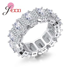 JEXXI Gorgeous Halo Rectangle White Cubic Zirconia Design Round Finger Rings 925 Sterling Silver for Women Engagement Jewelry