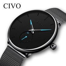 CIVO Mens Da Forma do Relógio Minimalista Magro Malha de Aço À Prova D' Água Relógios Para Homens Quartz Sports Watch Relógio de Pulso Relogio masculino