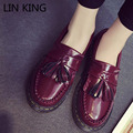 LIN KING New Women Flat Shoes Solid Slip-on PU Low Top Brogue Shoes Tassel Round Toe Thick Sole Massage Vintage Martin Shoes
