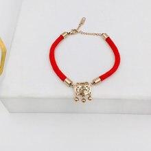 Новый год ткачество красный веревочный браслет для женщин и