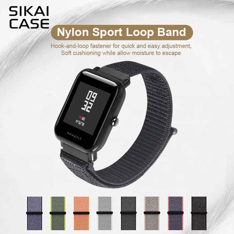 SIKAI 20mm Universal Nylon Watch Band For Huami Aamazfit Youth Smartwatch Watchband For Amazfit Bip Bit Youth Edition Straps