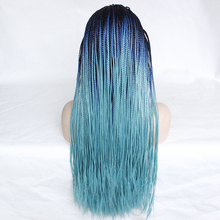 Natural Long Dark Roots Ombre Blue Braid Wig Heat Resistant Fiber Synthetic Lace Front Braid Wig Braided Box Braids Wig