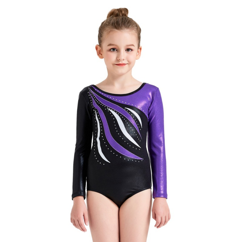 One-piece Girls Long-sleeved Radium Highlights Color Ballet Leotards <font><b>Kid</b></font> Striped Sparkle Athletic <font><b>Gymnastics</b></font> Costumes Dance Wear image