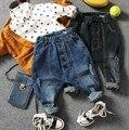 Только джинсы 1 шт. 2-10Y новый 2017 весенние мальчики моды кнопку харен джинсы дети весна осень джинсовые брюки дети джинсы мальчиков брюки