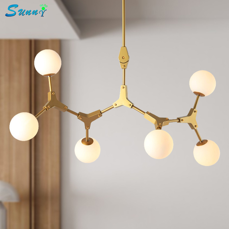 Branch Molecule Magic Bean Pendant Lights Nordic Living Room Golden Pendant Lamps Iron Art Restaurant Bar Kitchen Hanging LampsBranch Molecule Magic Bean Pendant Lights Nordic Living Room Golden Pendant Lamps Iron Art Restaurant Bar Kitchen Hanging Lamps