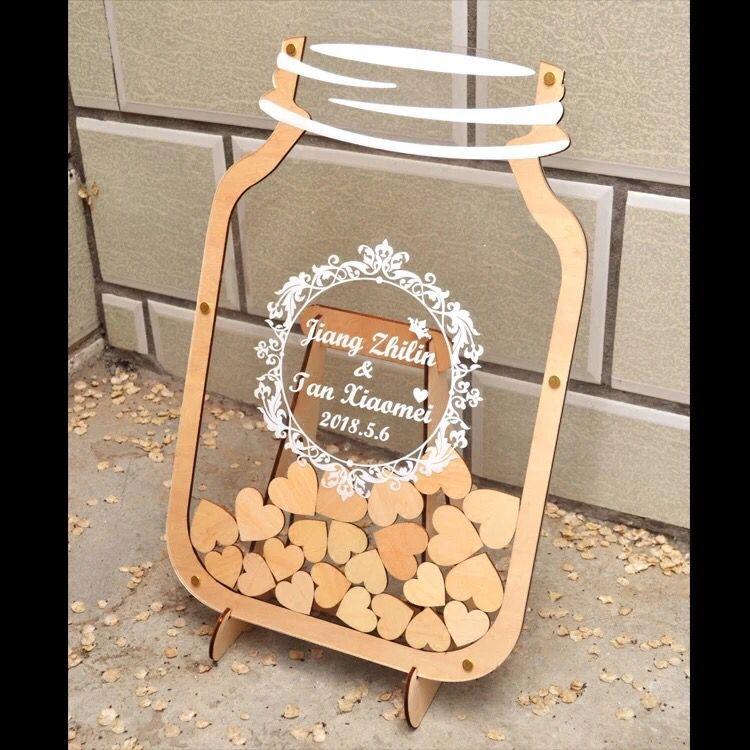 Wedding Wedding Birthday Fingerprint Sign In Tree Signature Custom Irregular Heart-shaped Wood Chips