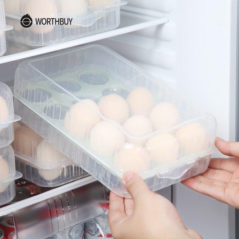 WORTHBUY 10/15 Griglie Egg Storage Container BPA Libero di Plastica della Scatola di Immagazzinaggio Uovo Con Scomparti Da Cucina Frigorifero Organizer