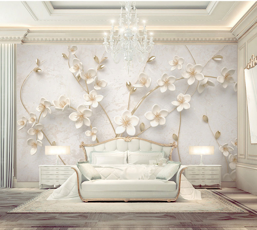 Bacaz Custom 8d Emboss Texture White Flower Wallpaper Mural for Walls Bedroom 3D Flower Wall papers 3d Wall Decoration stickersBacaz Custom 8d Emboss Texture White Flower Wallpaper Mural for Walls Bedroom 3D Flower Wall papers 3d Wall Decoration stickers